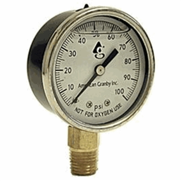 American Granby 0-100 PSI Steel Liquid Filled Gauge