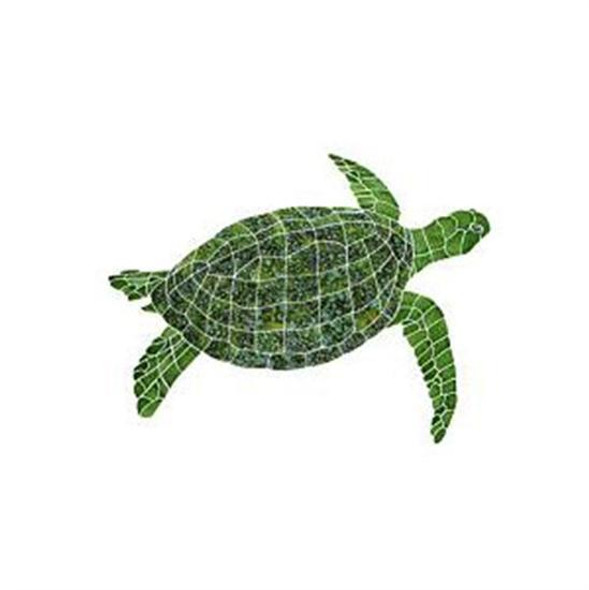 Artistry In Mosaics Aquatic Line Green Sea Turtle Mosaic Tile - Large