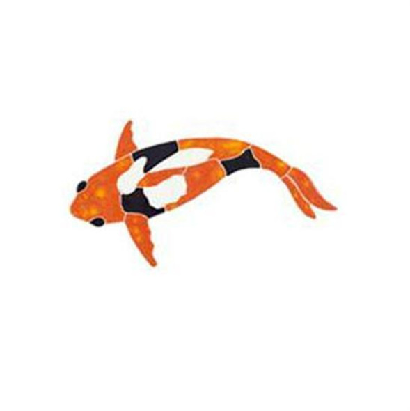Artistry In Mosaics Garden Line Small Orange Koi Fish Mosaic Tile