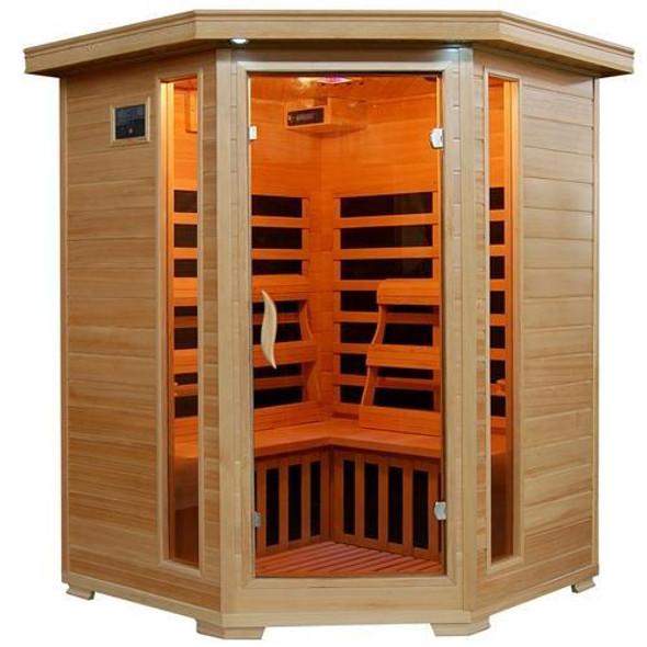 Santa Fe 3 Person Infrared Corner Heatwave Hemlock Carbon Sauna