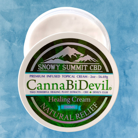 CBD infused Healing Cream. Our Healing Cream is infused with 250 mg of CBD and Devil's Club Oil. Two powerful healing plants. With a touch of Menthol for a skin cooling comfort.  Snowy Summit CBD | CBD Cream | Hemp derived