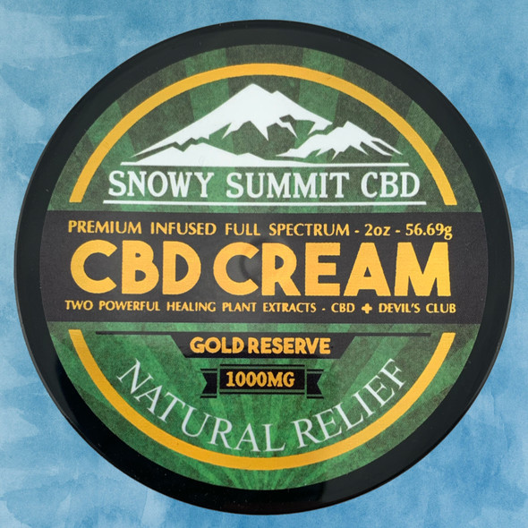 Try our Gold Reserve CBD Cream! 1000 mg CBD Healing Cream infused with CBD & Devil's Club Oil. Two powerful healing plants. Natural pain relief. Snowy Summit CBD | Gold Reserve CBD | Hemp