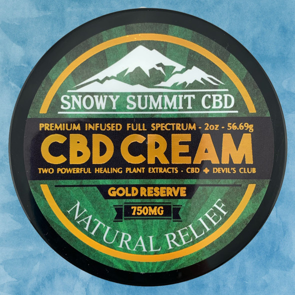 Try our Gold Reserve CBD Cream! 750 mg CBD Healing Cream infused with CBD & Devil's Club Oil. Two powerful healing plants. Natural pain relief. Snowy Summit CBD | Gold Reserve CBD | Hemp