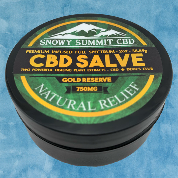 Try our Gold Reserve CBD Salve! 750 mg CBD Healing Salve infused with CBD & Devil's Club Oil. Two powerful healing plants. Natural pain relief. Snowy Summit CBD | Gold Reserve CBD | Hemp