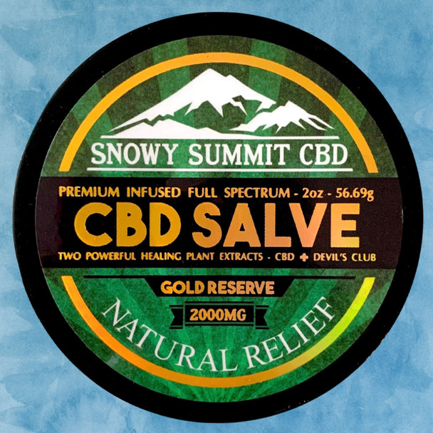 Try our Gold Reserve CBD Salve! 2000 mg CBD Healing Salve infused with CBD & Devil's Club Oil. Two powerful healing plants. Natural pain relief. Snowy Summit CBD | Gold Reserve CBD | Hemp