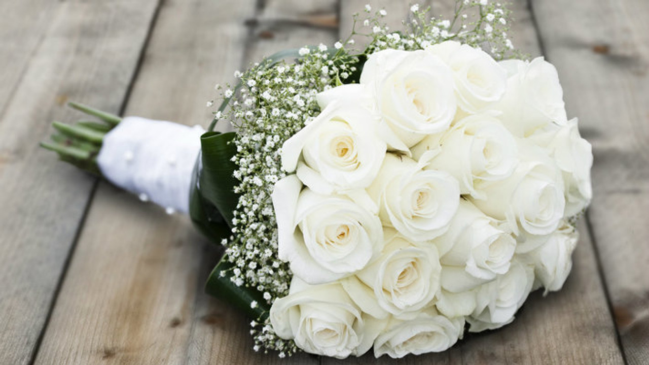 White Roses Babies Breath Bouquet