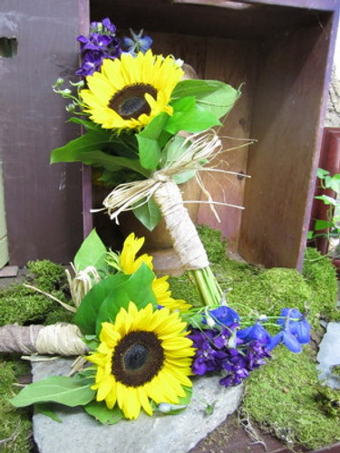 Sunflowers, purple stock & Delphinium