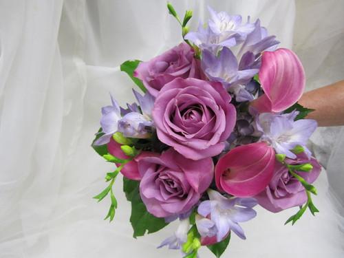 Lavender Roses, Calla Lilies, Freesia Bouquet