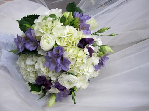 Roses, Hydrangea, Freesia, Ranunculus Bouquet