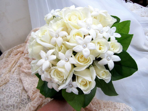 Stephanotis & White Roses