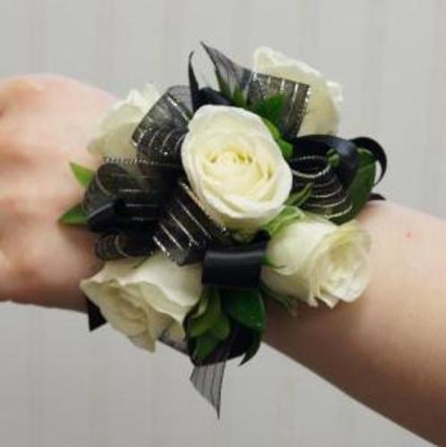 White Rose Black Bow Corsage