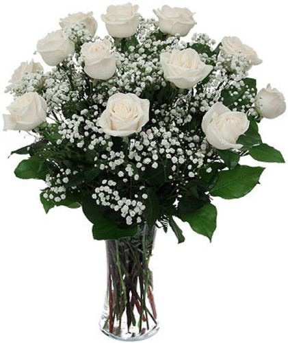 Dozen White Roses Arranged