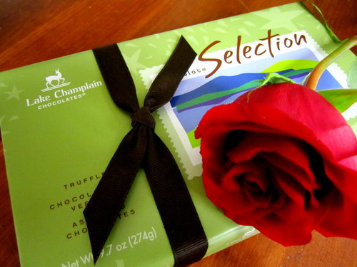 Lake Champlain Chocolates & Red Rose