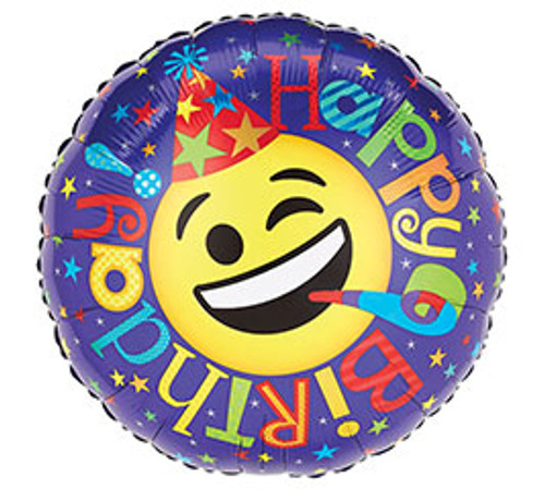 Happy Birthday Smiley Face Mylar Balloon