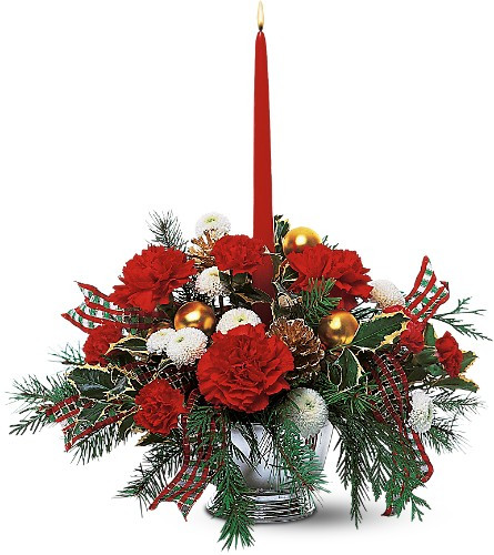 This decorative centerpiece captures holiday spirit so well, you can almost hear the guests caroling.