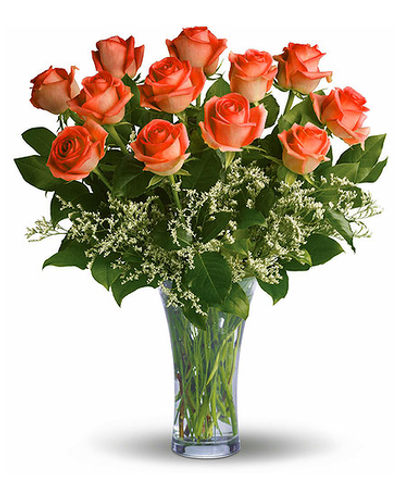 Dozen Orange Roses Arranged