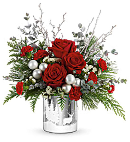 red roses, miniature red carnations, and white sinuata statice are arranged with white pine, flat cedar and parvifolia eucalyptus. Delivered in Teleflora's Wintry Wishes Cylinder.