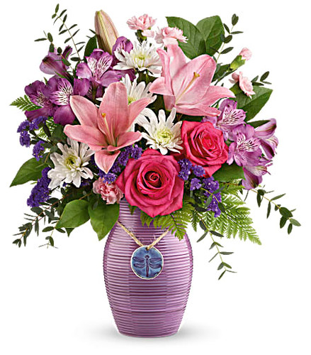Hot pink roses, pink asiatic lilies, purple alstroemeria, pink miniature carnations, white cushion spray chrysanthemums and purple sinuata statice are arranged with leatherleaf fern, parvifolia eucalyptus, and lemon leaf. Delivered in a My Darling Dragonfly vase. Some flowers may vary