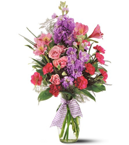 Fragrant stock, spray roses, alstroemeria and miniature carnations