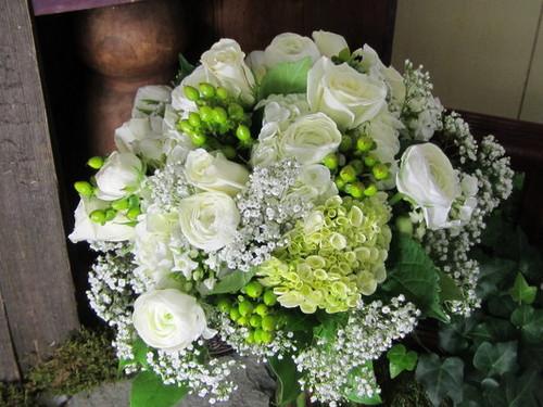 White Roses, Ranunculus, Hydrangea Bouquet