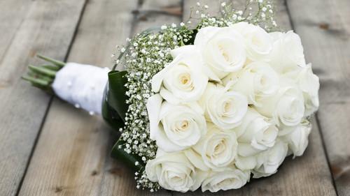 White Roses & Babies Breath Bouquet
