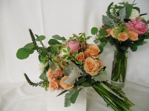 Hand tied Bridesmaids or Bridal Bouquet with peach garden rose, eucalyptus, queen anns lace. Natural garden style.