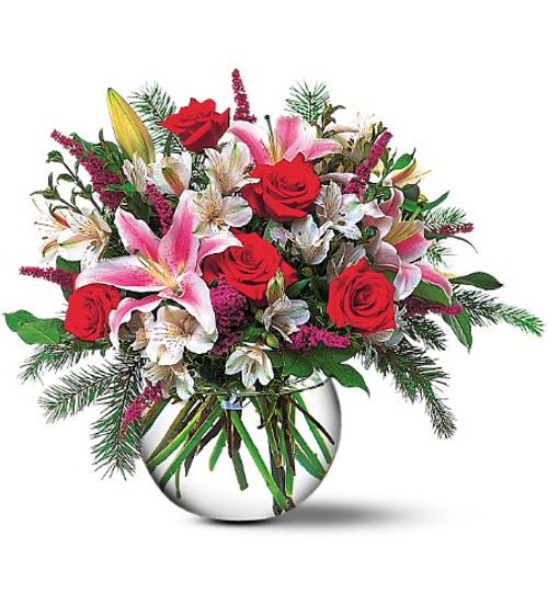 Beautiful bowl of Red Roses, Stargazers, Alstromaria and Winter Greens.