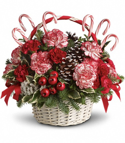White basket filled with peppermint carnations, Candy Canes, Frosted pine cones, Red Ribbons. Perfect for a hostess gift or a corporate gift,