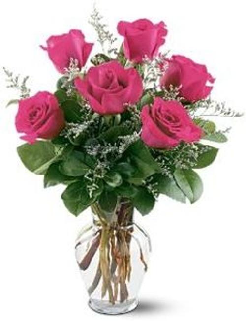 Half Dozen Hot Pink Roses Arranged