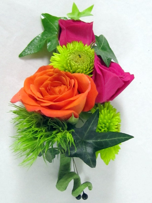 Chic and Stunning Lapel flowers. Make him stand out above the rest. Combination of orange and hot pink miniature spray roses with green ivy. An exclusive design by Chappell's Florist