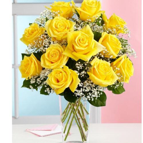 Dozen Yellow Roses  Arranged