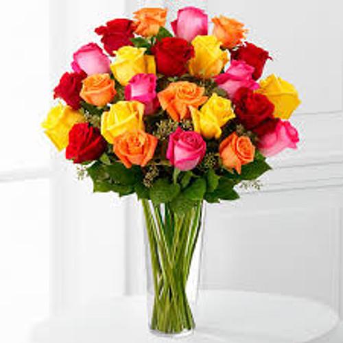 2 Dozen Brightly Colored Roses
