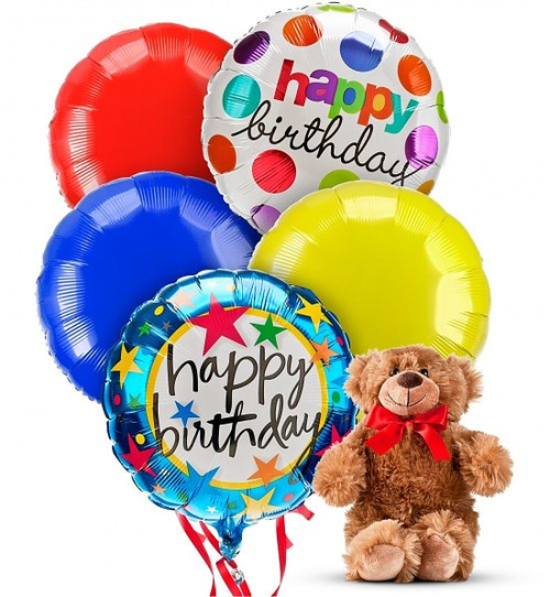 Birthday Balloons and Bear