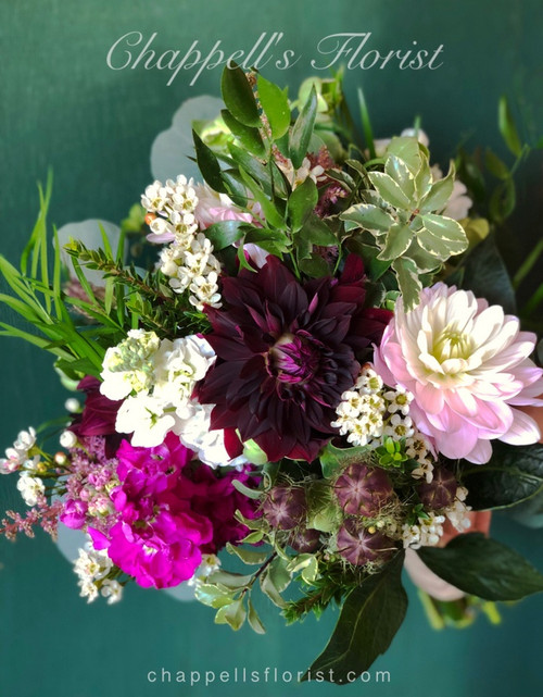 Handtied Simply Beautiful with  just a couple of dahlias, stock, nigella pods, assorted greenery.