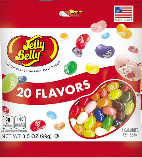 20 assorted Jelly Bean Flavors in a 3.5oz bag.