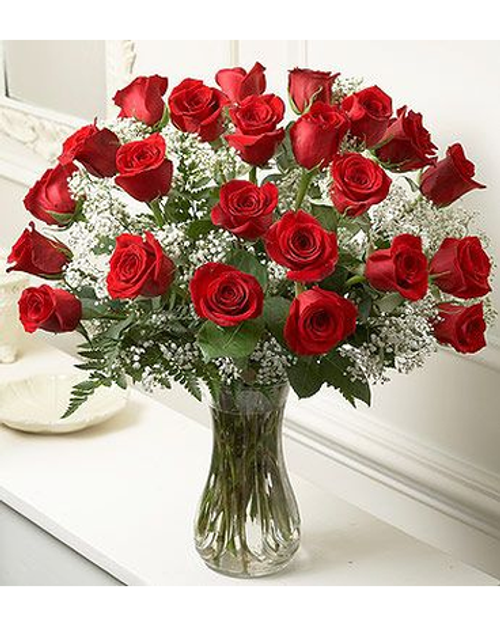 """This special gift of two dozen gorgeous red roses will say """"I Love You So Much!"""" Our red roses are spectacular and all our friends and customers tell us we have the longest lasting roses in Burlington. Delivery daily in Vermont."""