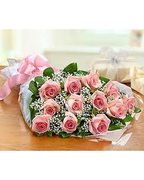 Dozen Pink Roses Wrapped