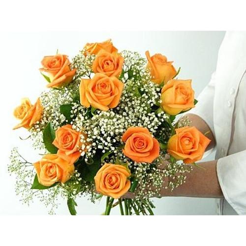 Dozen Orange Roses Wrapped