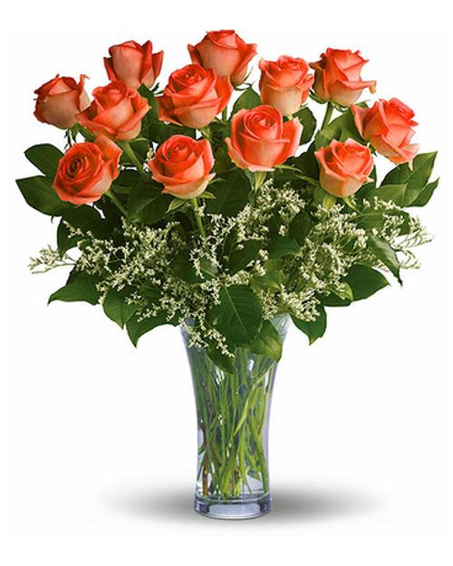 Dozen Orange Roses Arranged