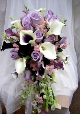 Calla Lilies Roses Larkspur Cascade Bouquet