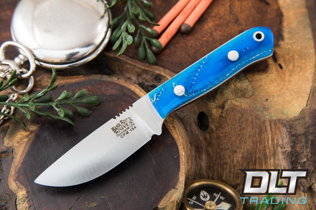 Bark River Knives Bravo Micro Cpm 154 Blue Cyclone Mesh White