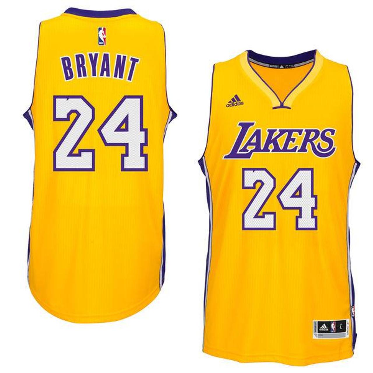 Los Angeles Lakers Kobe Bryant #24 Yellow Adidas Jersey