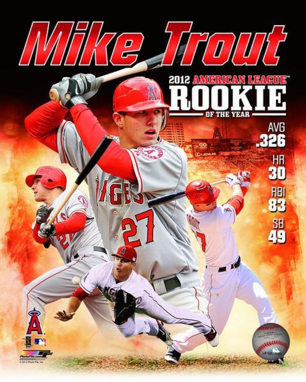 Los Angeles Angels Mike Trout Licensed 8x10 Rookie of the Year Photo