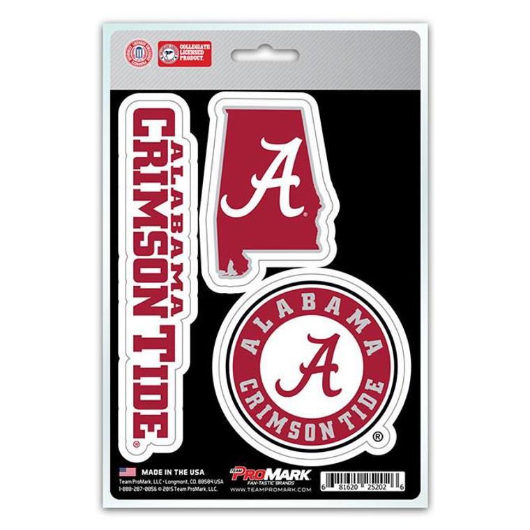 Alabama Crimson Tide Die Cut Team Decals 3pk