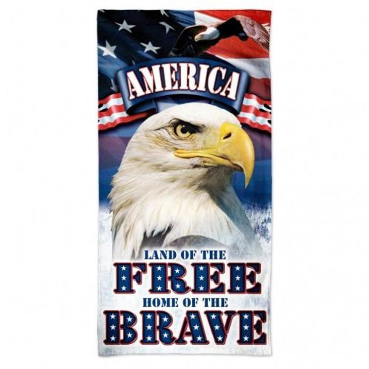 """American Beach Towel 30x60"""" - Land of the Free Home of the Brave"""