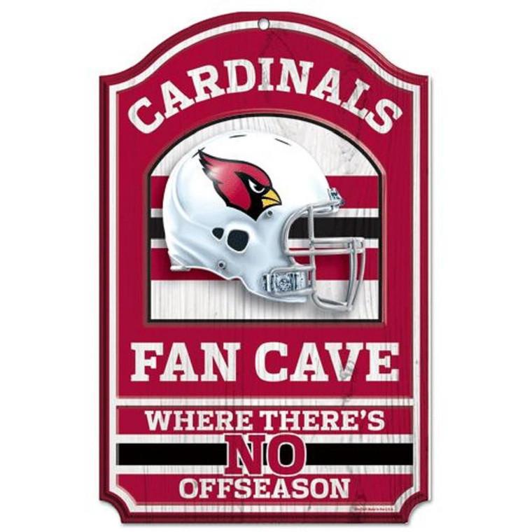"""Arizona Cardinals 11x17"""" Wooden Fan Cave Sign"""