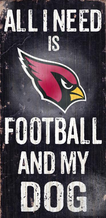 """Arizona Cardinals 6x12"""" Football and Dog Wood Sign"""
