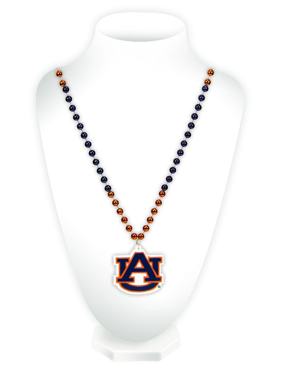 Auburn Tigers Mardi Gras Beads with Medallion