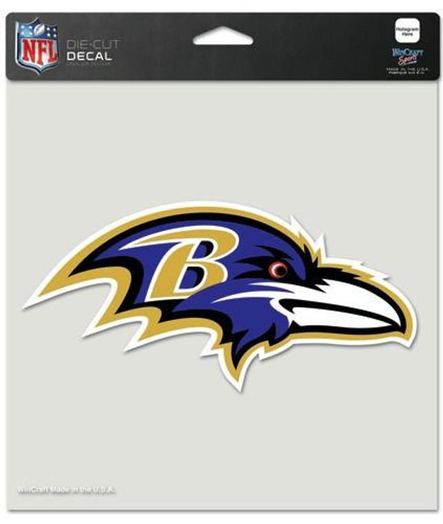 "Baltimore Ravens Die Cut Color Decal 8x8"""