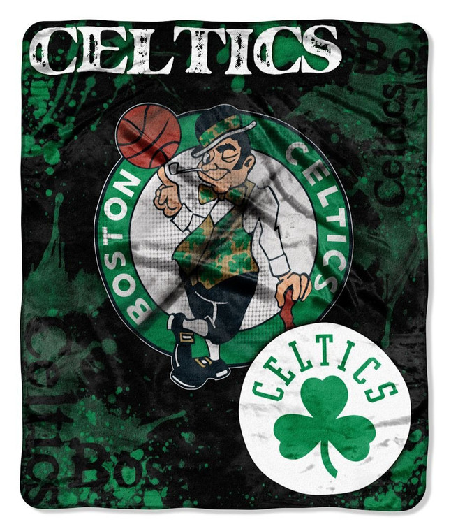 Boston Celtics Blanket 50x60 Raschel Drop Down Design